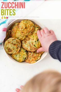 Zucchini Bites are a great finger food for babies and kids. A great way to add m. Zucchini Bites are a great finger food for babies and kids. A great way to add more vegetables to your kid's diet. Great for the lunchbox. Healthy Baby Food, Healthy Toddler Meals, Kids Meals, Healthy Snacks, Healthy Recipes, Toddler Dinners, Toddler Lunches, Savory Snacks, Healthy Appetizers