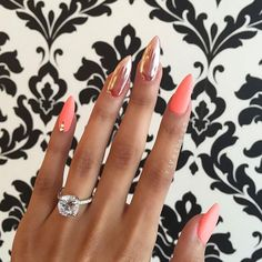 Could not resist this #regram because OMG THIS IS FLAWLESS. #ringshot #bridalinspo #glam Nails and Image by @riyathai87 • • • #nails #nailstagram #instanails #acrylic #fakenails #bridalnails #beautiful #pretty #flawless #pink #metallic #pinknails #imengaged #pointynails #almondnails #nailpolish #engagementring #stunning #sparkle #sparkly #diamond #engagement #engagementphoto #weddingring #weddingjewelry #weddingchicks