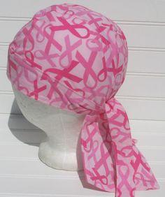 Breast Cancer awareness skull cap doo rag chemo by Aknackforfabric