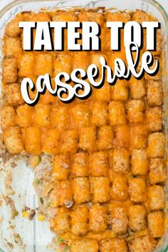 Tater tot Casserole is one-dish comfort food at it's finest. Baked with frozen tater tots, ground beef, cream of mushroom soup, cheese, and vegetables, this hearty and quick recipe is a delicious, simple meal that is perfect for busy nights. You'll love the rich taste and how easy this recipe is to make! Kid-friendly dinner where they don't even know they are getting their vegetables Tater Tot Bake, Easy Tater Tot Casserole, Easy Casserole Recipes, Tater Tots, Oven Recipes, Lemon Recipes, Casserole Dishes, Easy Recipes