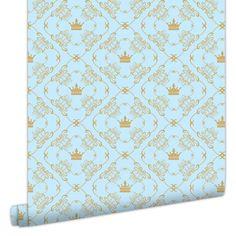 Papel de Parede Coroa Azul com Dourado | Printme.com.br | Elo7