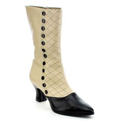 Infuse your style with these vintage-inspired kitten heel mid-calf boots. Decorated with faux buttons down the side and quilted details, these boots are fabulous.