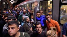Migrants in Saalfeld, eastern Germany
