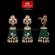 Bhumi Flat Diamond Polki Jhumkis ship across and Call/Whatsapp us on Diamond Jhumkas, Gold Jhumka Earrings, Buy Earrings, Gold Earrings Designs, Gold Jewellery Design, Bead Jewellery, Beaded Jewelry, Gold Jewelry, Earrings Online