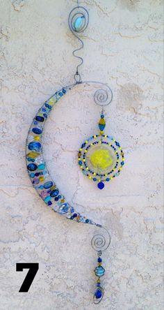 Sun and moon beaded suncatcher