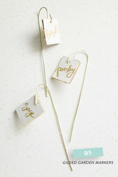 DIY Gilded Garden Markers  Read more - http://www.stylemepretty.com/living/2014/03/11/diy-gilded-garden-markers/