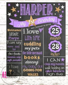 Girl's First Birthday Chalkboard/Twinkle Twinkle Little Star/Purple and Gold Chalkboard/First Birthday Poster/Personalized Milestones by ALMemorableCreations on Etsy First Birthday Posters, First Birthday Chalkboard, Girl First Birthday, First Birthday Parties, Gold Birthday Party, Birthday Board, Birthday Ideas, Milestone Birthdays, First Birthdays