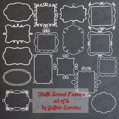 INSTANT DOWNLOAD Chalk Board Frames PNG by YellowLemonStudios, $3.25
