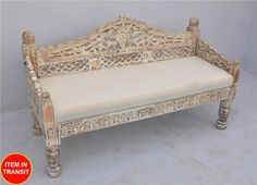 French Indian Carved daybed mattress Balinese day bed light brown cream - L … Balinese Interior, Balinese Decor, Bali Furniture, Indian Furniture, Interior Design Living Room, Living Room Decor, India Decor, Wood Daybed, Indian Home Decor