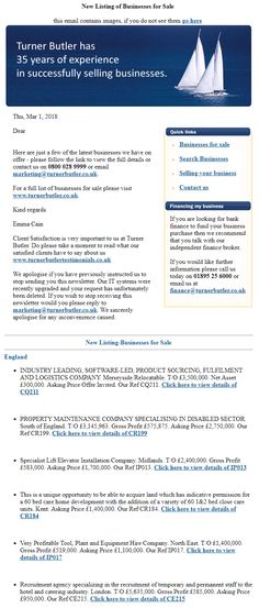 Turner Butler Weekly Newsletter -Click here to view more about the business #TurnerButler #Sellingyourbusiness #WeeklyNewsletter #Businessopportunity #Wesellbusinesses #Sellyourbusiness #FreeBusinessValuation #Businessforsale
