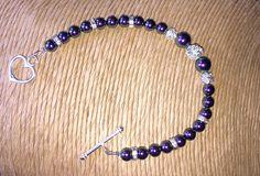 Purple Pearl Bracelet, Swarovski Pearl & Rhinestone Bracelet, Silver Bracelet,  Wedding Accessories, Bridesmaids Gifts