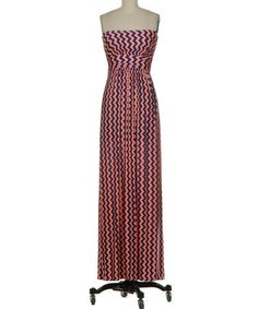 Look what I found on #zulily! Navy & Coral Vertical-Zigzag Strapless Maxi Dress by Fashionomics #zulilyfinds