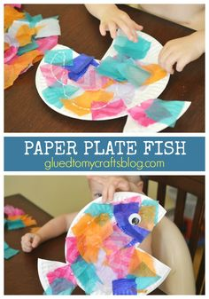 Animal crafts For Toddlers - Tropical Paper Plate Fish Kid Craft Fish Crafts Preschool, Daycare Crafts, Craft Activities, Toddler Activities, Dinosaur Crafts, Spanish Activities, Preschool Ocean Activities, Vocabulary Activities, Learning Spanish