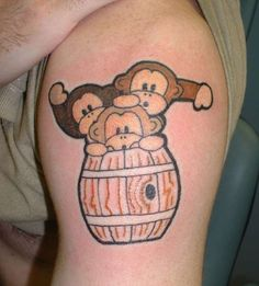 monkeys in a barrel tattoo. Would be perfect on my foot for my nephews. They are my three little monkeys