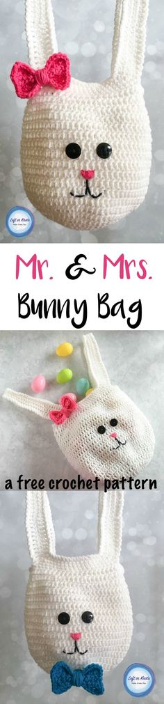 Use this free crochet pattern to make these bunny bags for all of your egg hunters this Easter! The kids will love these cute bags to collect eggs and treats in. Holiday Crochet, Crochet Bebe, Easter Crochet, Crochet Bunny, Crochet For Kids, Crochet Crafts, Crochet Toys, Crochet Projects, Free Crochet