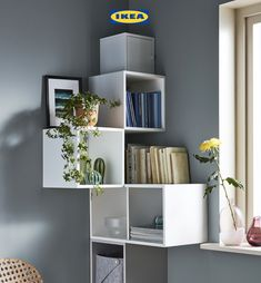 Make use of those tricky corners by creating an off the wall mini library with our EKET cabinets.