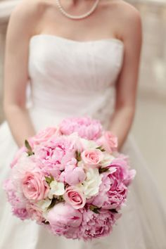 Pink peonies, white hydrangea, pink roses and myrtle.