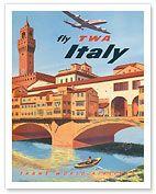 Hawaiian Art Prints & Posters - Fly TWA Italy, Florence Bridge - Giclée Art Prints & Posters