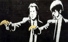 graffiti pulp fiction by banksy Banksy Graffiti, Street Art Banksy, Banksy Prints, Banksy Canvas, Bansky, Berlin Graffiti, Banksy Artwork, Urban Graffiti, Art Pop