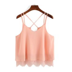 SheIn(sheinside) Pink Spaghetti Strap Lace Chiffon Cami Top (175 ZAR) ❤ liked on Polyvore featuring tops, pink, red camisole, lace tank, pink tank top, spaghetti strap tank tops and lace tops