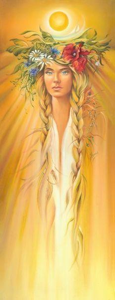 "Lammas, late summer - from cycle ""Eight Seasons of the Year"", © Anna Ewa Miarczyńska Summer Goddess, Sun Worship, Ukrainian Art, Sacred Feminine, Goddess Art, Norse Mythology, Summer Solstice, Gods And Goddesses, Mellow Yellow"