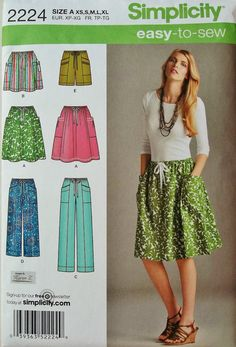 Easy Skirt Pattern, Pull-on Pants Pattern, Easy Shorts Pattern, Easy to Sew Pattern, Sz 6 to 24, Simplicity 2224 sewing pattern on Etsy, $4.40