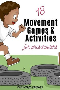 These simple movement activities for preschoolers are great ideas to try at home with your kids or at school. Build your child's gross motor skills while having fun. Movement Preschool, Physical Activities For Kids, Gross Motor Activities, Physical Education Games, Music Activities, Gross Motor Skills, Kindergarten Activities, Therapy Activities, Educational Activities