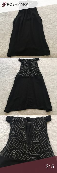 Black dressy top Black and silver top Size large Never worn Button ties around neck Tops Tank Tops