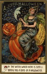 A Joyful Halloween Witch Pumpkin Embossed Postcard 1912 Retro Halloween, Halloween Fotos, Casa Halloween, Halloween Spells, Vintage Halloween Cards, Victorian Halloween, Halloween Prints, Halloween Pictures, Vintage Holiday
