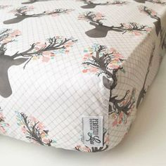Floral Deer | Standard Crib Sheet | Changing Pad Cover | Baby Blanket | Pillowcase | Woodland Nursery | Baby Girl Bedding | Mint & Coral