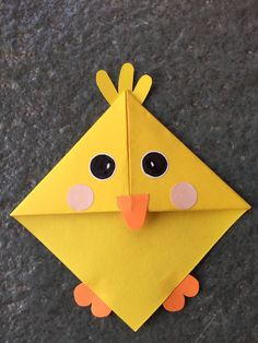 Cute animal corner bookmark fun activity for kids, cute gift idea _ Baby chick … – Origami Bookmark Craft, Bookmarks Kids, Corner Bookmarks, Origami Bookmark, Chat Origami, Origami Cat, Paper Crafts Origami, Origami Animals, Easter Crafts For Kids