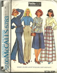 McCalls 5783 1970s  Misses  Pants  Blouse  Skirt and Jacket sewing pattern by mbchills,