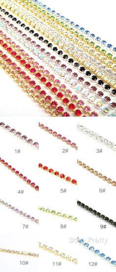 $2.65 Nail Art Decoration Shining Colorful Crystal Rhinestones Chain Line Acrylic UV Gel Nail Jewelry - BornPrettyStore.com