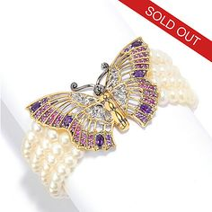 137-311 - Gems en Vogue 6mm Freshwater Cultured Pearl & Multi Gemstone Butterfly Bracelet