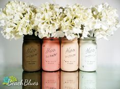 Blush and Mocha Ombre SPRING Wedding Decor - Painted and Distressed Mason Jars - Centerpiece - Vase / Home Decor