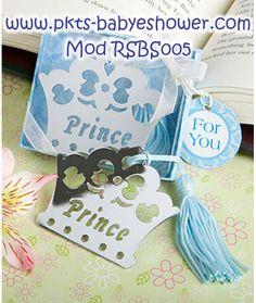 Recuerdos para Baby Shower - Separadores Corona Principe Azul - Disponible en www.pkts-babyshower.com