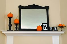fall decorating on mantle