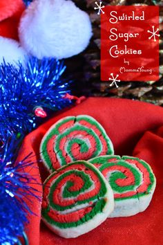 Red, Green, white sugar cookies rolled together make an adorable swirl designed Christmas cookie Best Holiday Cookies, Easy Christmas Cookie Recipes, Christmas Deserts, Christmas Foods, Christmas Drinks, Christmas Treats, Christmas Baking, Christmas Cookies, Christmas Holidays