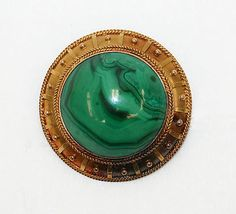 Malachite and Gold Brooch