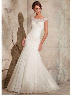 Elegant Tulle Bateau Neckline Natural Waistline Appliques Mermaid Wedding Dress