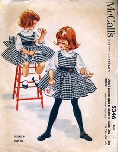 Vintage McCalls 5346 CUT Childs Gathered Full Skirt Jumper with Petticoat and Blouse Sewing Pattern Size 3 Breast Designed by Helen Lee Back Vintage Girls Dresses, Little Girl Dresses, Vintage Style Outfits, Vintage Street Fashion, Retro Fashion, Girl Fashion, Vintage Sewing Patterns, Clothing Patterns, Mccalls Patterns