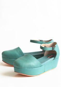 Daphne Aqua Leather Platforms By Gee Wawa