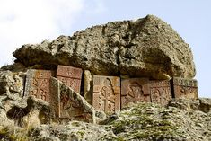 Khachkars at Geghard Monastery in Armenia's Kotayk Province. Listed as a UNESCO World Heritage site, the monastery was founded in the 4th century at the site of a sacred spring