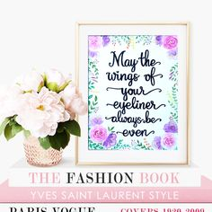 May the Wings of Your Eyeliner Always Be Even Wall Art. Original Art Work. Watercolour Beauty Quote. Hand Painted Wall Art. Make Up Quote by FlowersAndScribbles on Etsy