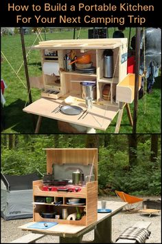 This DIY kitchen is very portable, allowing you to fold it down to fit your camping vehicle easily.