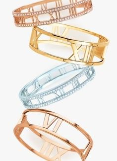Tiffany & Co. The Atlas Collection/18K Yellow Gold, 18K Rose Gold And Sterling Silver Bangle Bracelets