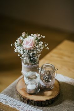 Jars with hessian and lace details - Blush pink roses and gypsophila - rustic wedding ideas
