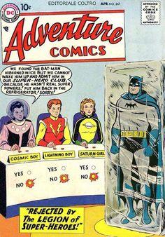 Adventure Comics 247 Parody #AdventureCommics247Parody #CosmicBoy #RokkKrinn #Braal #SaturnGirl #ImraArdeen #Titan #LightningLad #GarthRanzz #Winath #LoSH #LegionofSuperHeroes #Batman #BruceWayne #TheDarkKnight #Gotham #JL #JusticeLeague #TheCapedCrusader Saturn Girl, Cosmic Boy, Legion Of Superheroes, Comic Book Covers, Marvel Dc, Ivy, Comic Art, Dc Comics, Funny Pictures