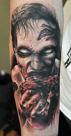 Horror tattoo by Benjamin Laukis Creepy Tattoos, Horror Tattoos, Sick Tattoo, Horror Monsters, Zombie Art, Macabre Art, Viking Tattoos, Tattoos Gallery, Body Art Tattoos