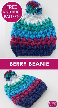 Bubbles and Berries… such pretty texture! Learn how to Knit a Berry Bubble Bea… Bubbles and Berries… such pretty texture! Learn how to Knit a Berry Bubble Beanie Hat with free knitting pattern and video tutorial by Studio Knit. Baby Hats Knitting, Baby Knitting Patterns, Loom Knitting, Knitting Stitches, Free Knitting, Knitted Hats, Crochet Patterns, Crochet Ideas, Stitch Patterns